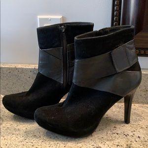 Woman's black suede bootie